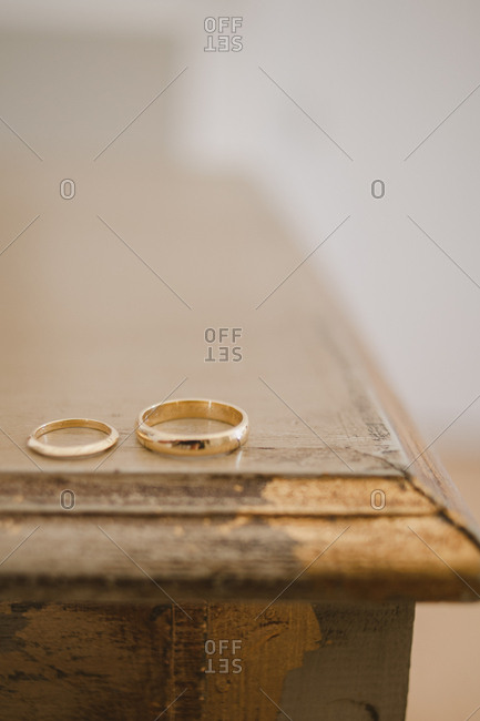 Wedding bands on table corner