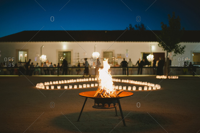 Fire burning in yard for party