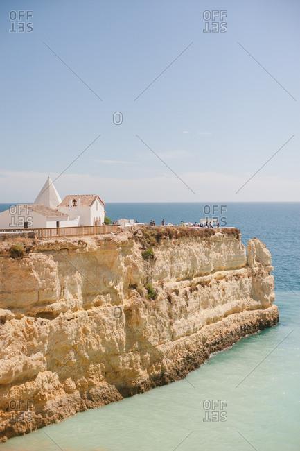 Senhora da Rocha, Portugal - February 4, 2017: Church on seaside cliff