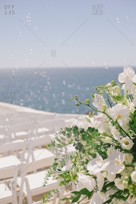 Flowers at a seaside wedding