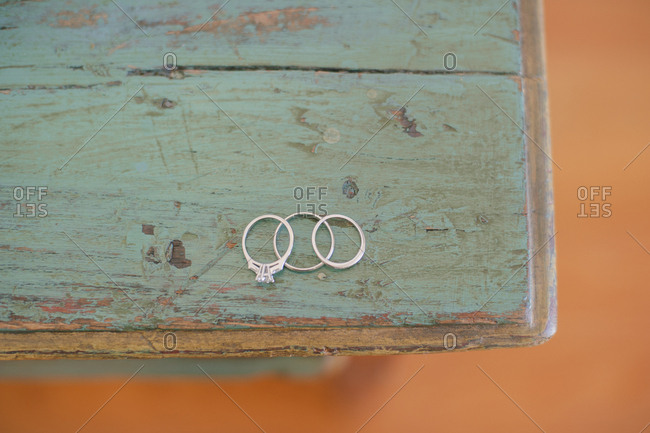 Wedding bands at a table corner