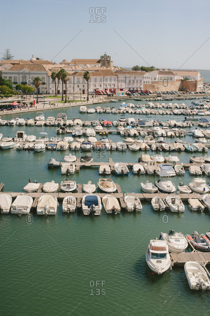 View of boats by Faro, Portugal