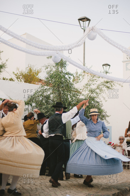 Traditional dancers at Portuguese wedding
