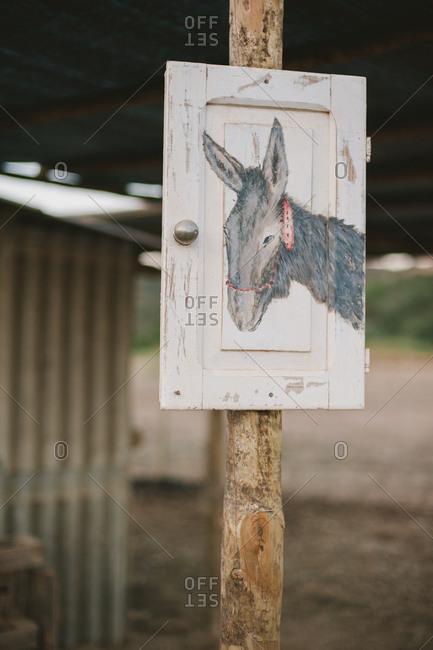 Donkey sketch in a barn