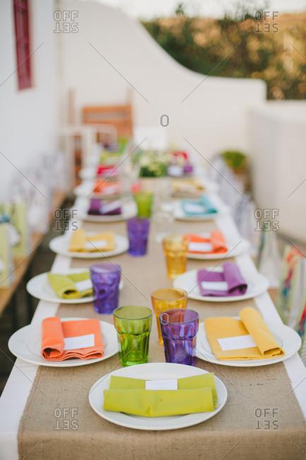 Table set for dinner on terrace, Portugal