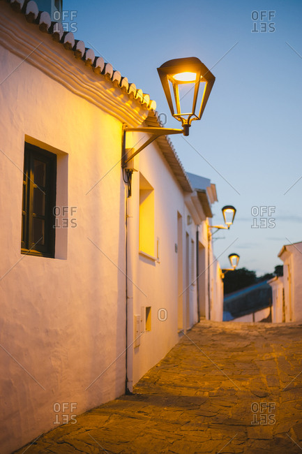 Streetlight in cozy Portuguese street