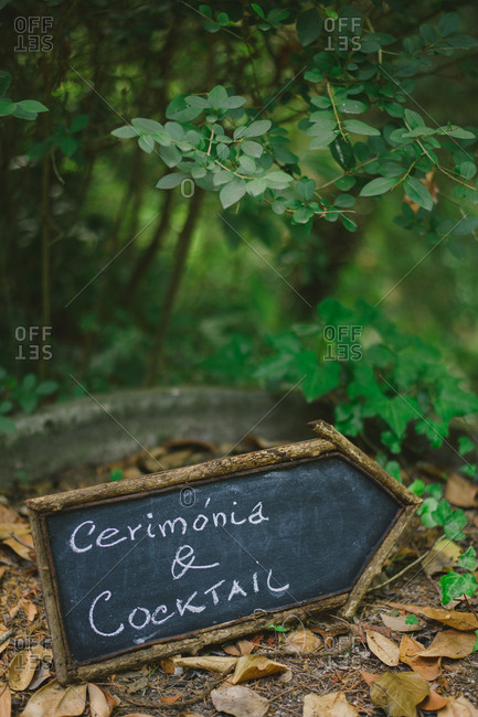 Sign pointing way for rural wedding