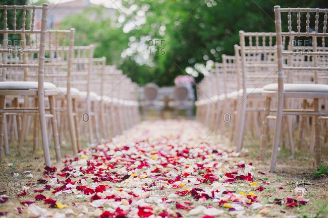 Flower petals lining wedding aisle