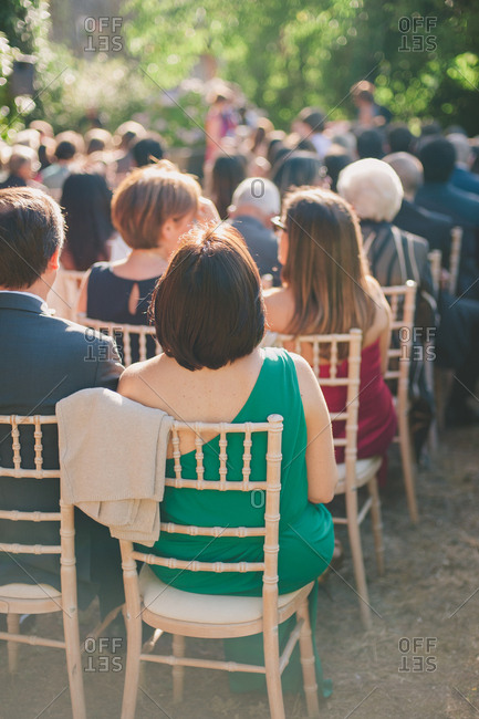 Guests at outdoor wedding in Portugal
