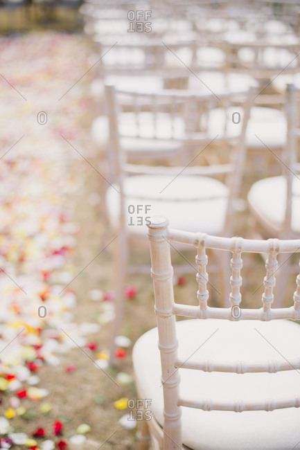 A chair by rose petal strewn ground