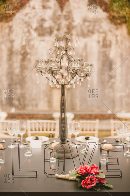 Love decoration on a wedding table