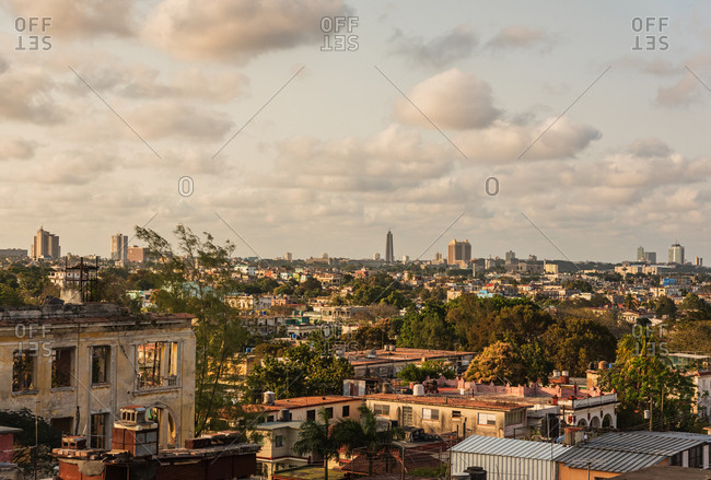 Cuba, Havana, Cityscape at sunset