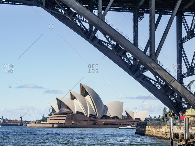 Part of bridge with Sydney Opera House in background