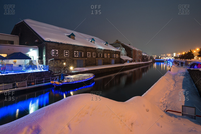 Otaru, Japan - January 9, 2017: Otaru canal in winter.