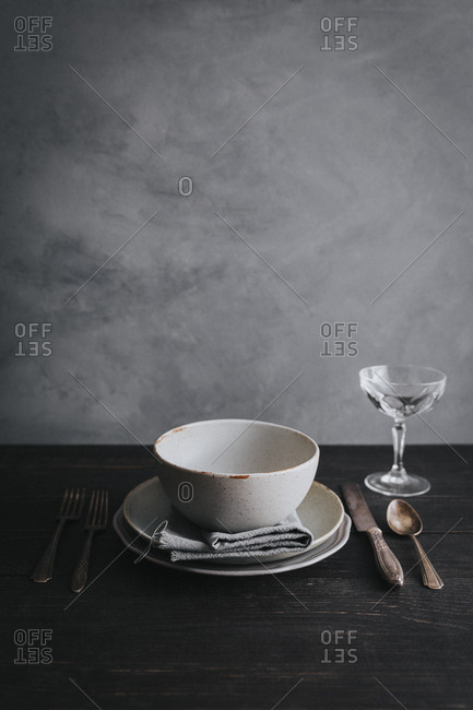 Still life of rustic place setting