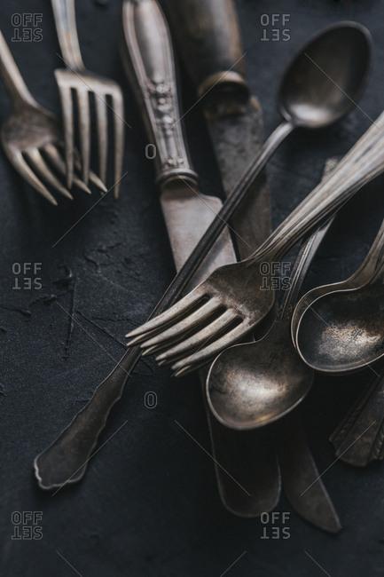 Tarnished vintage cutlery
