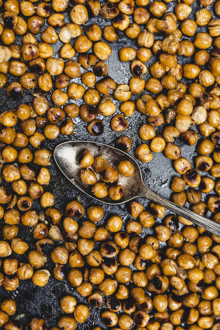 Overhead of roasted chickpeas