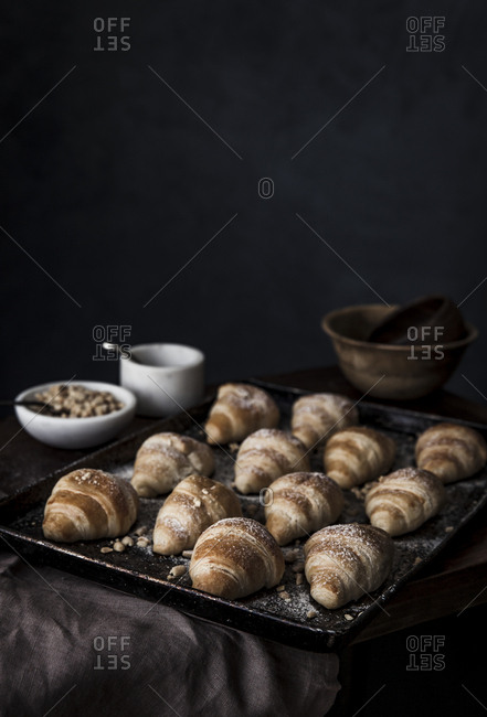 Baking sheet of freshly baked croissant