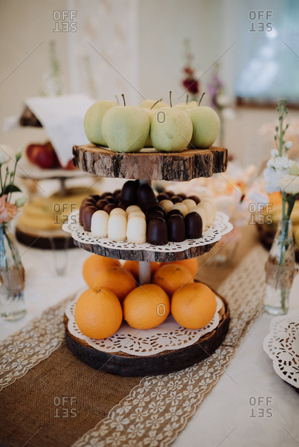 Fruit and dessert on a table at a wedding