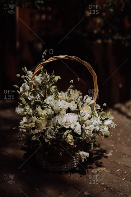 White floral arrangement in a basket