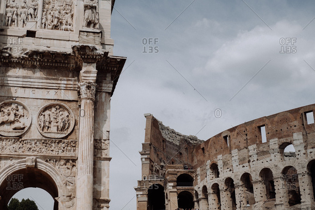 Rome, Italy: June 1, 2017: Arch of Constantine and the Colosseum