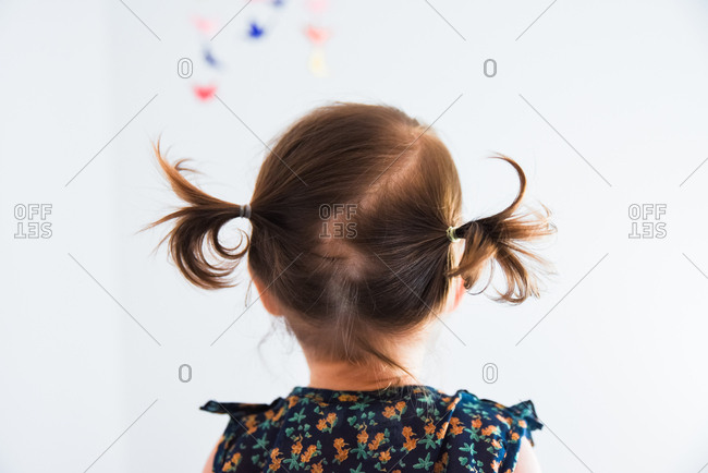 Back view of toddler girl's head with hair in pigtails