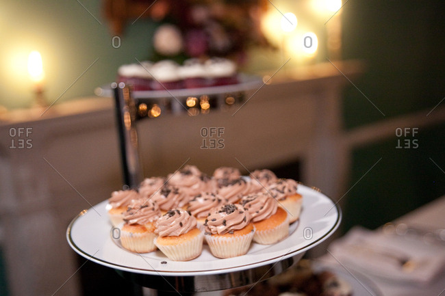 Cupcakes being served at wedding reception