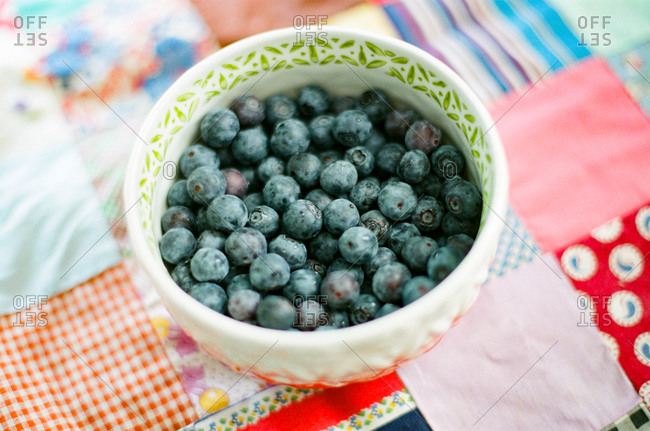 Bowl full of fresh blueberries