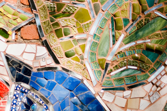Detail of colorful tiled mosaic