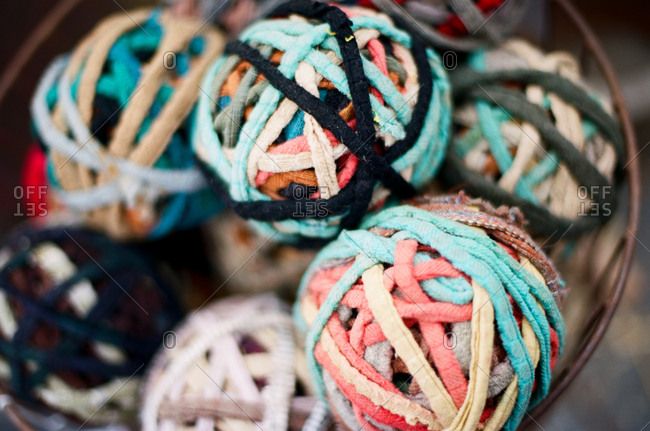 Detail of balls of fabric strips in various colors