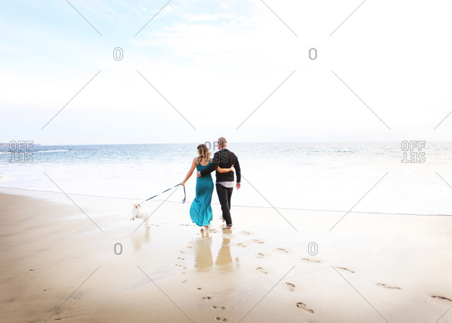 Couple walking dog on the beach