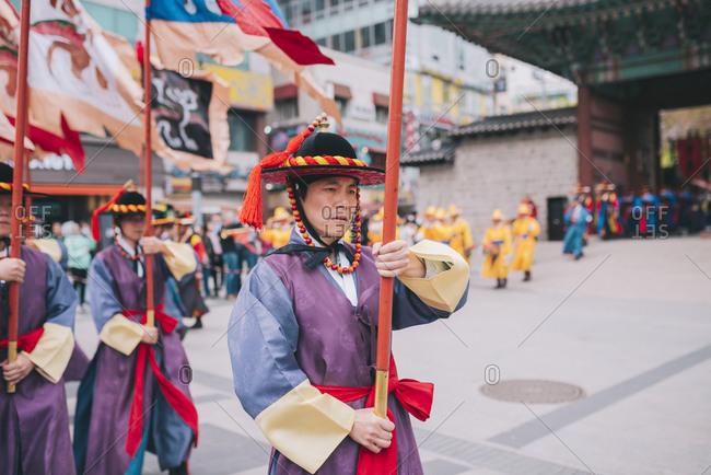 Seoul, South Korea - April 14, 2017: Changing of the Royal Guards at Deoksugung Palace, Seoul, South Korea