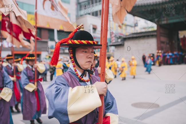 Seoul, South Korea - April 14, 2017: Changing of the Royal Guards at Deoksugung Palace
