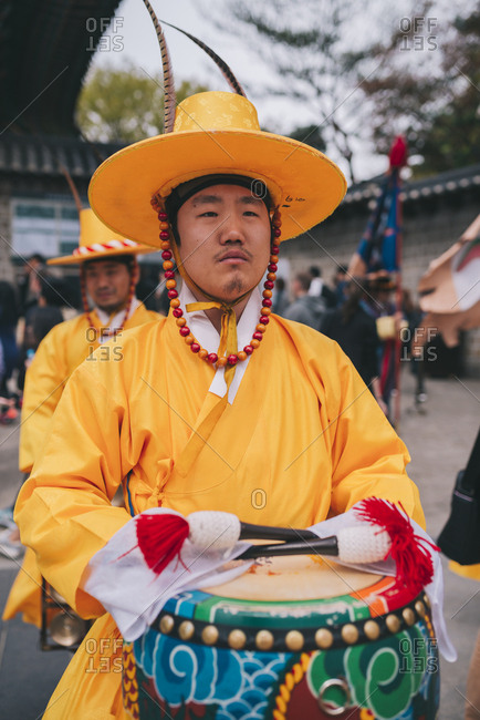 Seoul, South Korea - April 14, 2017: Drummer at the Changing of the Royal Guards at Deoksugung Palace, Seoul, South Korea