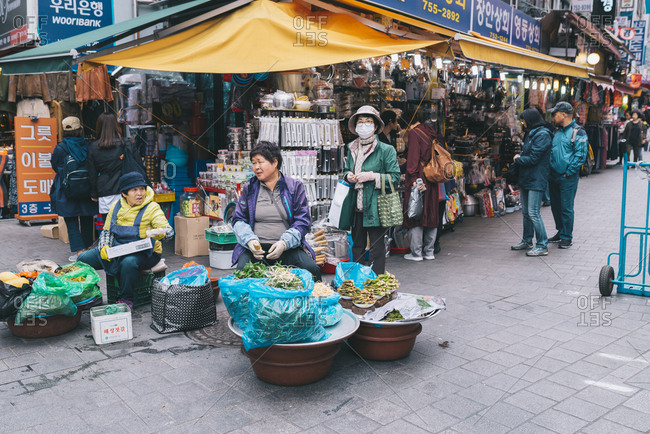 Seoul, South Korea - April 14, 2017: Namdaemun Market in Seoul, is the largest traditional market in South Korea