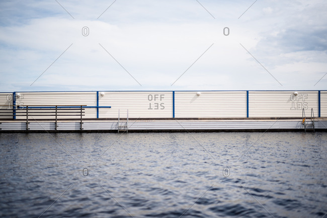 Boardwalk on a lake with ladders