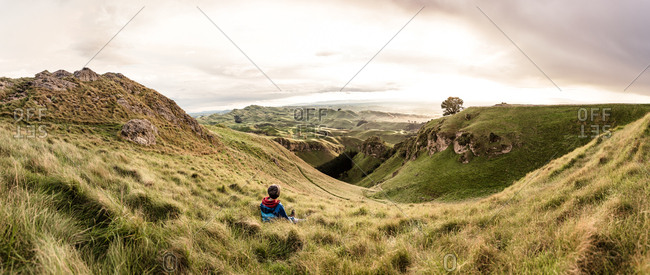 Boy overlooking Te Mata Peak in Hawke's Bay, New Zealand