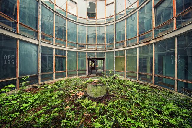 Abandoned house with round atrium