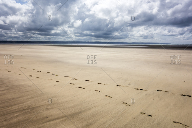 Footprints running along beach