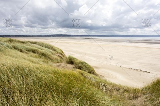 Sand dunes by a beach