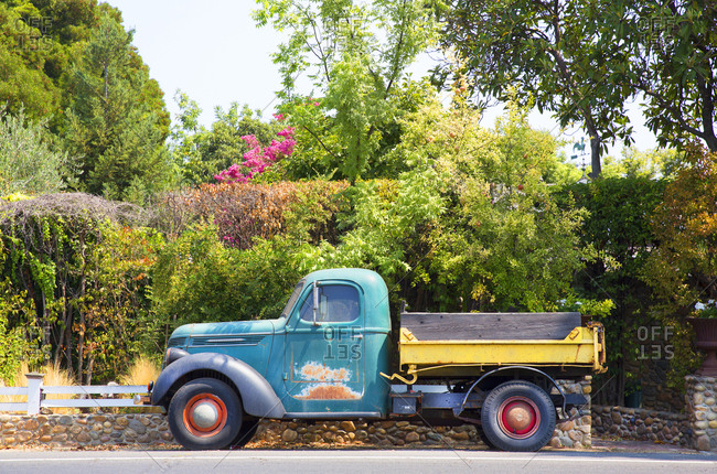 Napa Valley, California - August 8, 2015: Old farm truck on street