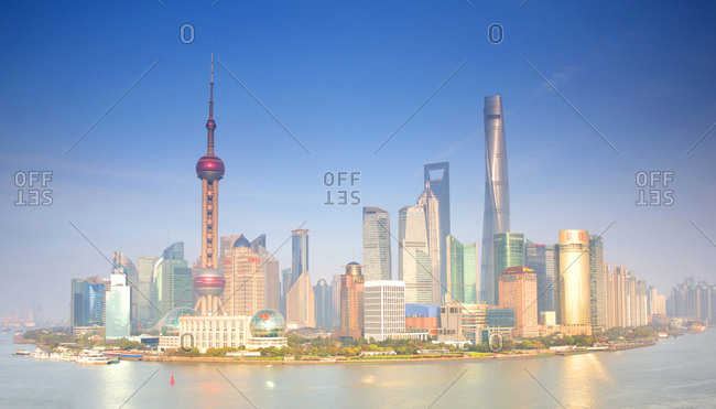 Shanghai, China - April 1, 2016: Skyline of Pudong business district