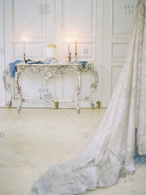 Antique table in ornate setting