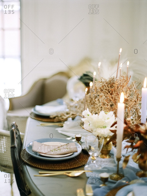 Place setting on romantic table