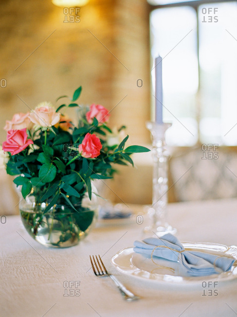 Place setting for wedding dinner
