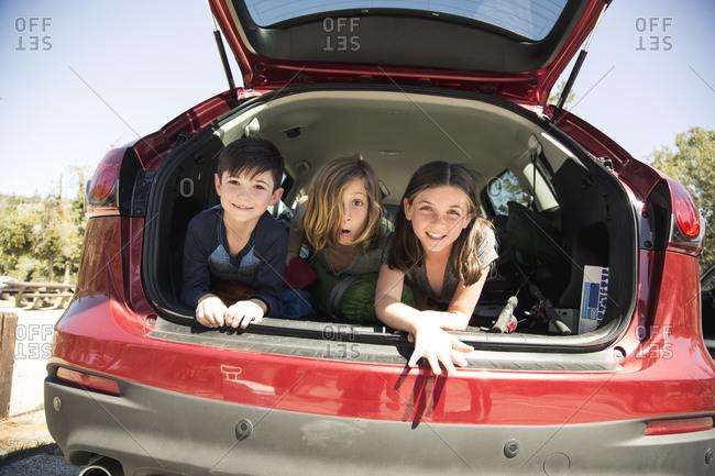Portrait of happy siblings lying in back of SUV