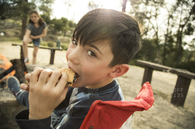 Portrait of boy eating s'mores at campsite