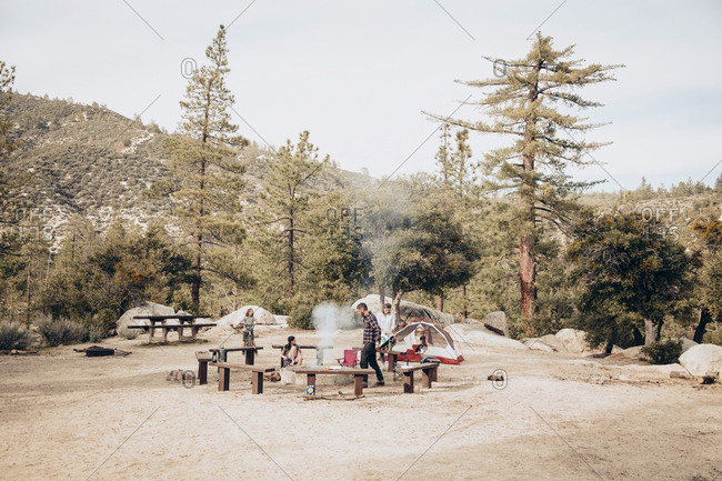 Family camping together at campground