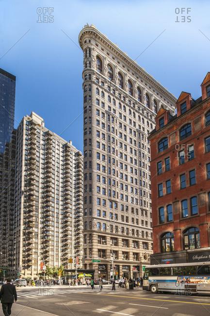 USA, New York, Manhattan - September 24, 2013: Flatiron Building Fifth Avenue cross Broadway
