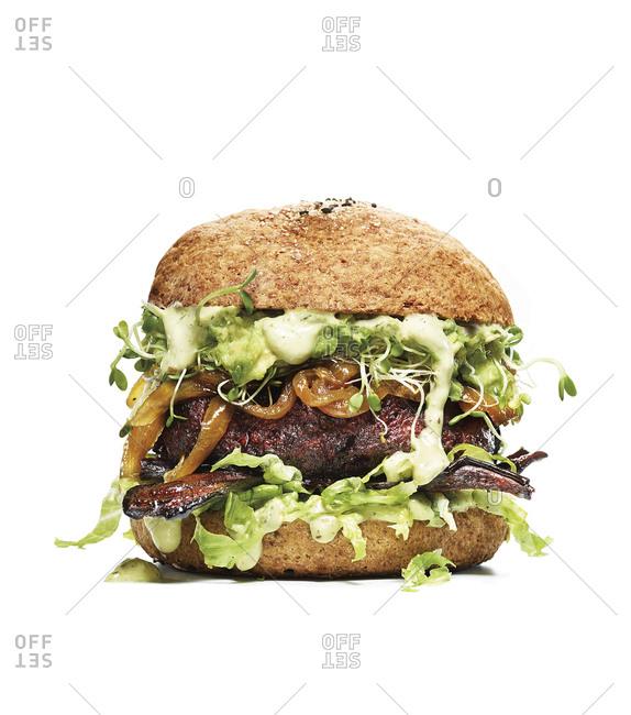 Veggie burger on gluten free bun